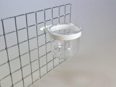 Plastskål til opsætning i net m/ring, ø 4,5 - højde 4,5 cm