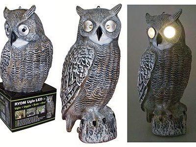 Fugleskræmmer Ugle M/ LED & Solcelle Randers Volieren