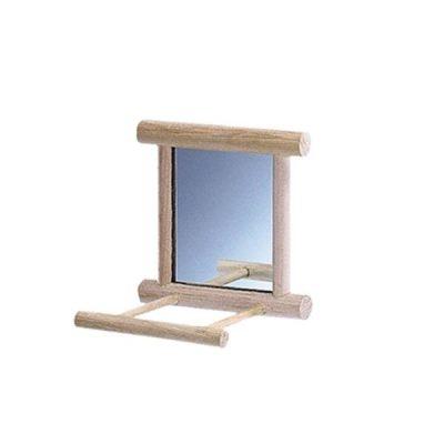 Spejl med landeplads i træ 10x10 cm   Randers volieren